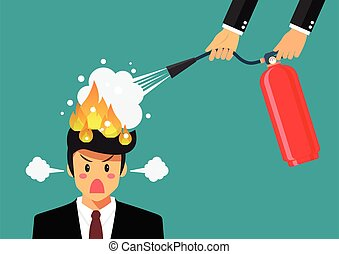 Angry businessman with head on fire gets help from man with extinguisher