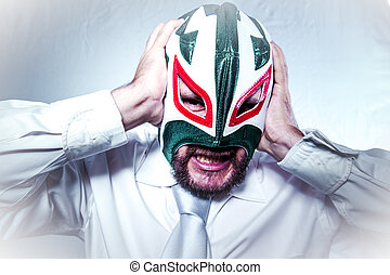 angry businessman with Mexican wrestler mask, expressions of anger and rage