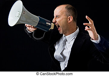 Angry businessman yelling