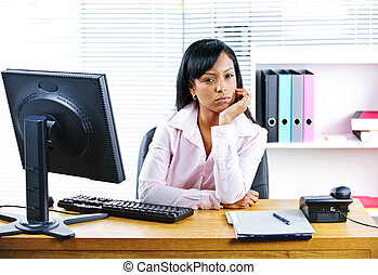 Angry businesswoman at desk