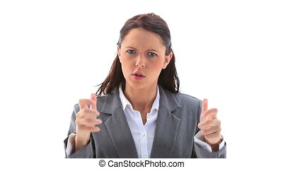Angry businesswoman gesturing