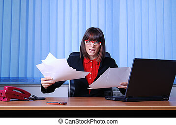 angry businesswoman holding documentsdocuments   UNFINISHED JOB CO