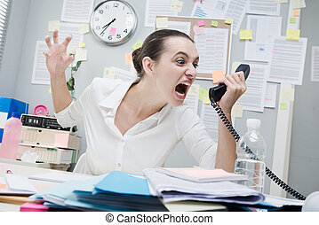 Angry businesswoman on the phone - Angry stressed...