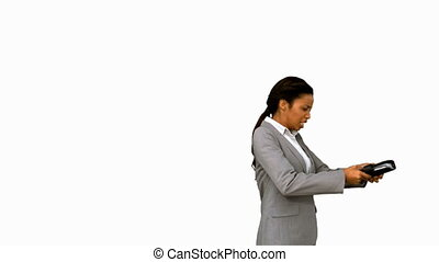 Angry businesswoman throwing her agenda on white screen in...