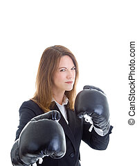Angry Businesswoman Wearing Boxing Gloves Isolated