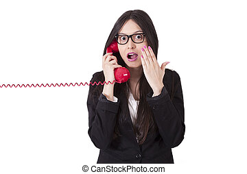 angry businesswoman with phone cord
