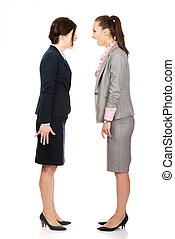 Angry businesswomans screaming at each other.