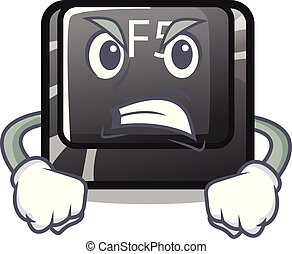 Angry button f5 in the shape cartoon vector illustration