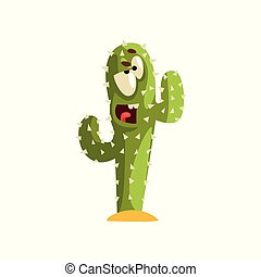 Angry cactus character, succulent plant with funny face ...