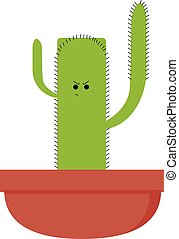 Angry cactus in pot, illustration, vector on white background.