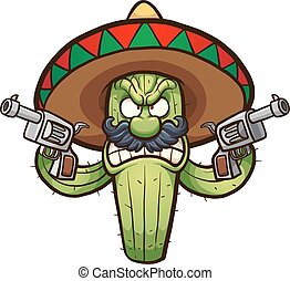 Angry cactus - Angry Mexican cactus. Vector clip art...