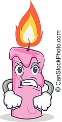 Angry candle character cartoon style vector illustration