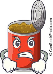 Angry canned food on the table cartoon