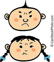 Angry cartoon baby boy and girl