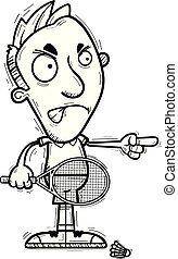 A cartoon illustration of a man badminton player looking angry and pointing.