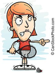 A cartoon illustration of a woman badminton player looking angry and pointing.