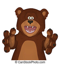 Angry cartoon bear - isolated on the white background