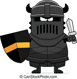Angry Cartoon Black Knight - A cartoon illustration of the...