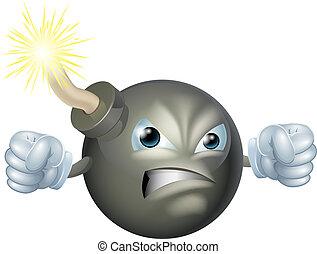 Angry cartoon bomb