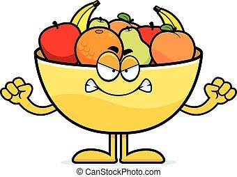 Angry Cartoon Bowl of Fruit
