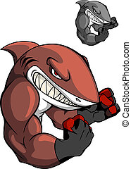 Angry cartoon boxing shark