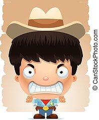 Angry Cartoon Boy Cowboy