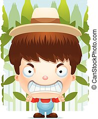 Angry Cartoon Boy Farmer