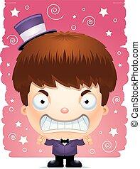 Angry Cartoon Boy Magician