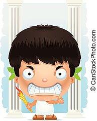Angry Cartoon Boy Olympian