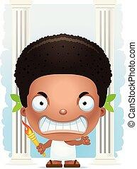 Angry Cartoon Boy Olympian - A cartoon illustration of a boy...