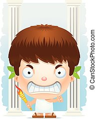 Angry Cartoon Boy Olympian - A cartoon illustration of a boy...