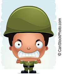 Angry Cartoon Boy Soldier