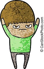angry cartoon boy
