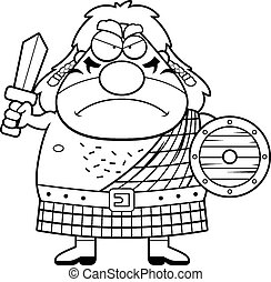Angry Cartoon Celtic Warrior - A cartoon illustration of a...