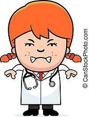 Angry Cartoon Child Doctor