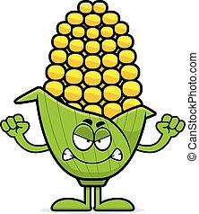Angry Cartoon Corn - A cartoon illustration of an ear of...