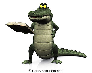 Angry cartoon crocodile reading book.