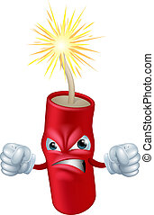An illustration of an angry looking cartoon firecracker or stick of dynamite character or mascot