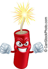 Angry cartoon firecracker - An illustration of mean or angry...