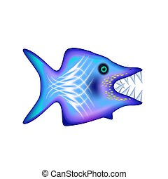 Angry cartoon fish with big teeth. Blue funny isolated character. Ocean and Sea for design, web, ui, advertising food sea. Vector illustration Eps 10