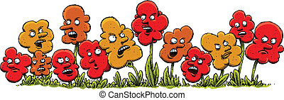 Angry Cartoon Flowers