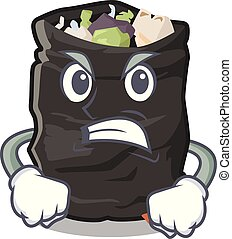 Angry cartoon garbage bag next to table