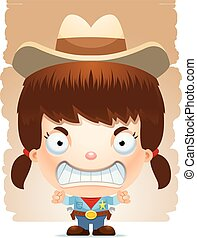Angry Cartoon Girl Cowboy