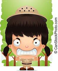 Angry Cartoon Girl Explorer