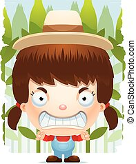 Angry Cartoon Girl Farmer