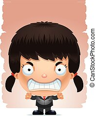 Angry Cartoon Girl in a Suit