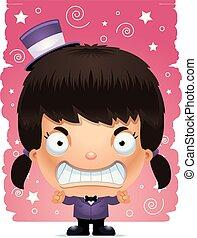 Angry Cartoon Girl Magician