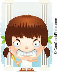 Angry Cartoon Girl Olympian - A cartoon illustration of a...
