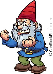 Angry cartoon gnome with defiant attitude. Vector clip art...
