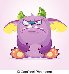 Angry cartoon goblin monster. Vector illustration.